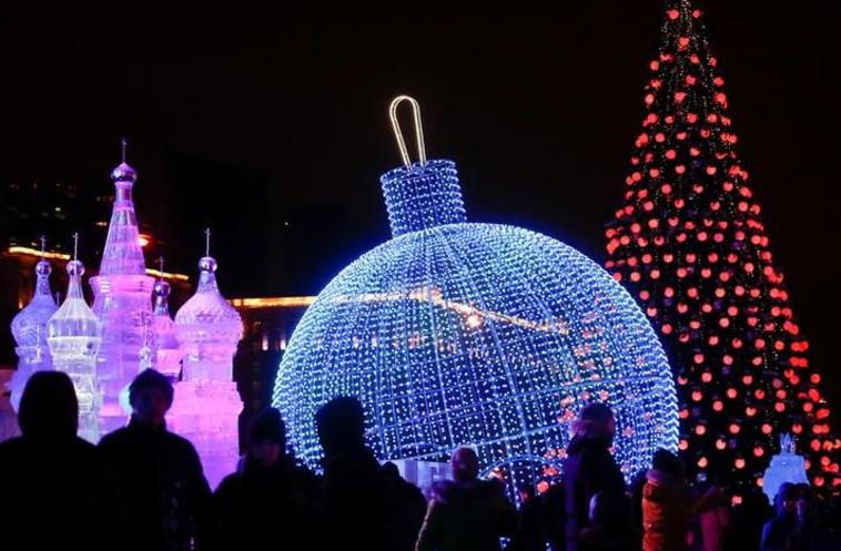 חגיגות השנה החדשה במוסקבה. צילום: רויטרס
