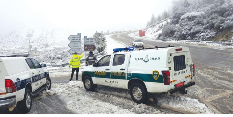 שלג בחרמון. צילום: דוברות המשטרה