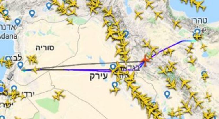 מטוס איראני שהיה בדרכו לנחות בנמל תעופה ביצע פניית פרסה ושב לטהרן. צילום מסך
