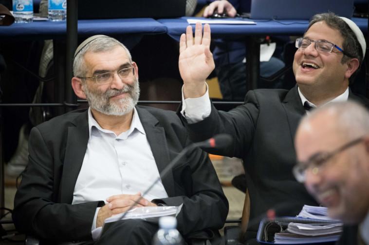 איתמר בן גביר ומיכאל בן ארי בדיון בוועדת הבחירות. צילום: נועם רבקין פנטון, פלאש 90