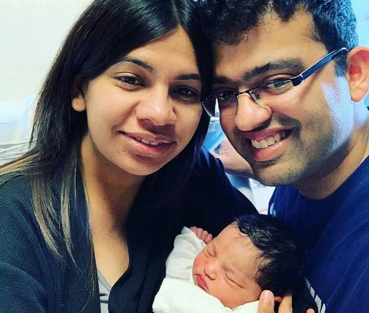 בורדווקר, בעלה והתינוקת . צילום:אינסטגרם