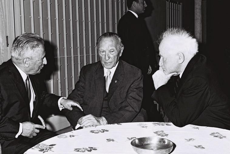 """שנת 1966 נחום גולדמן קאנצלר גרמניה בן גוריון. צלם : פריץ כהן, לע""""מ"""