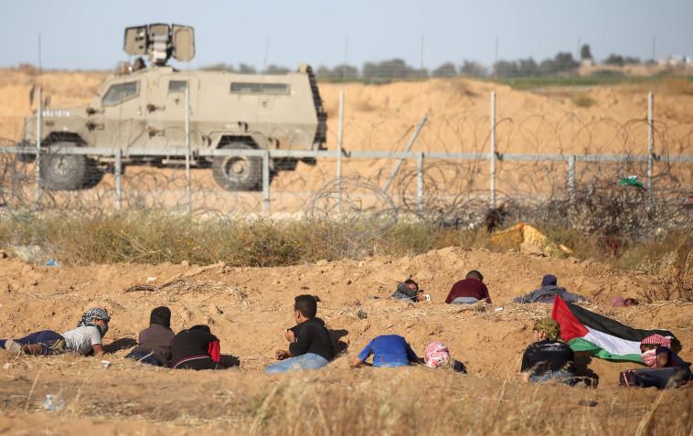 עימותים עם פלסטינים בגבול רצועת עזה. צילום: רויטרס