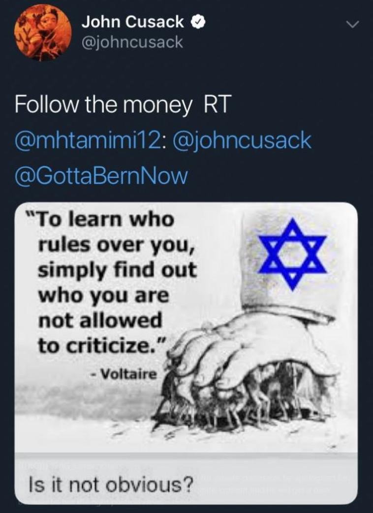 הציוץ האנטישמי של ג'ון קיוזאק. צילום מסך