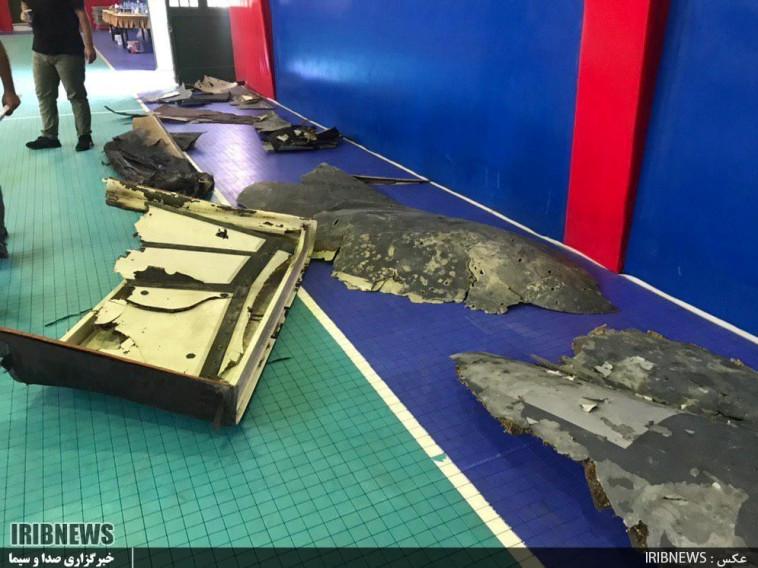 """חלקי המל""""ט שהופל על ידי האיראנים בחודש יוני, צילום: רויטרס"""