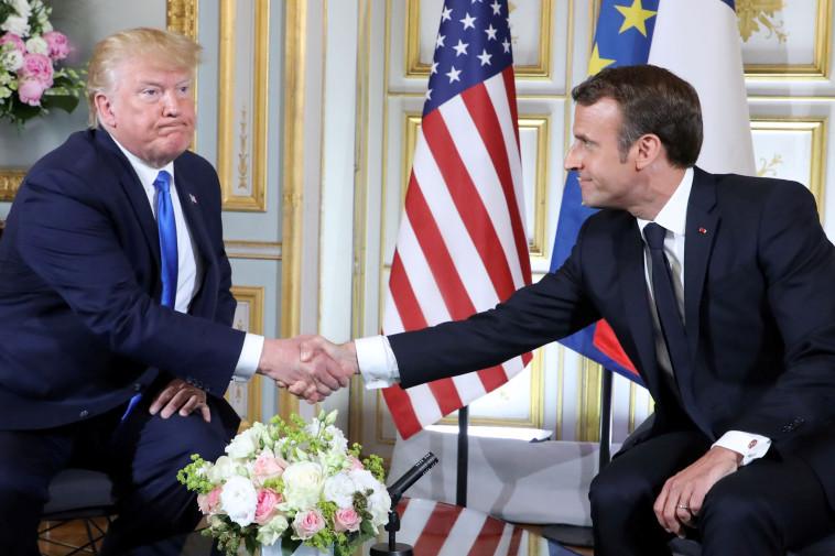 עמנואל מקרון, דונלד טראמפ. בצרפת מברכים (צילום: רויטרס)