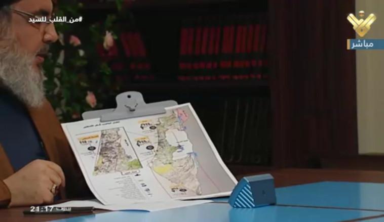 נסראללה עם מפת ישראל. צילום מסך