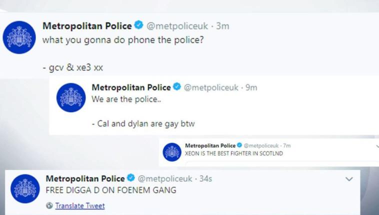 ציוצים שהאקרים העלו לחשבון של משטרת לונדון. צילום מסך טוויטר