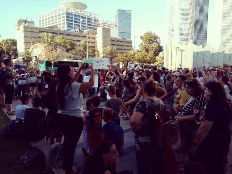 """מחאת ההורים לתלמידי החינוך המיוחד. צילום: אלו""""ט"""