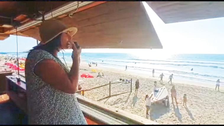 מירי רגב בים. צילום: צילום מסך