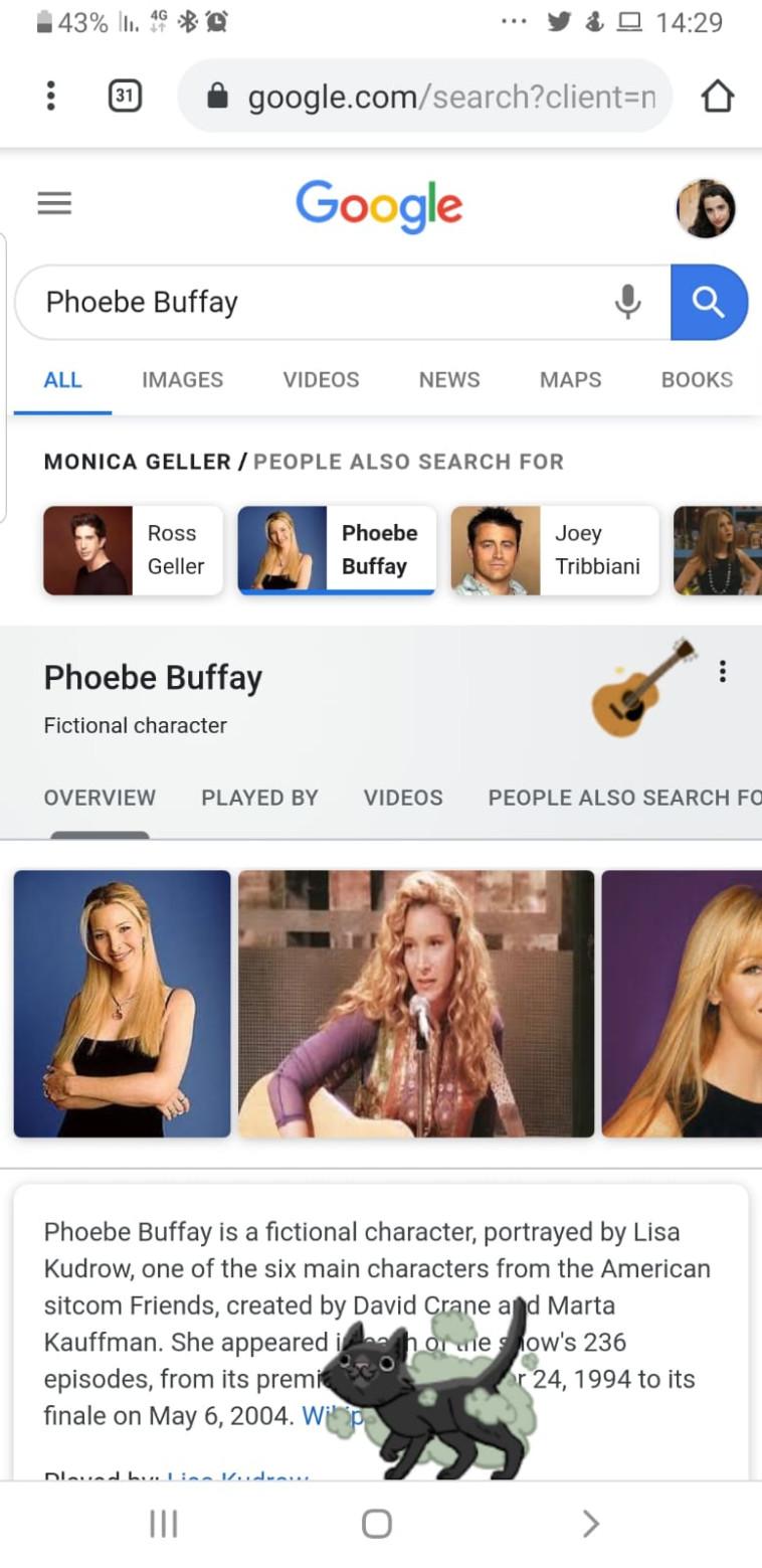 """פיבי בופה, הגיטרה ו""""סמלי קאט"""". צילום: צילום מסך"""