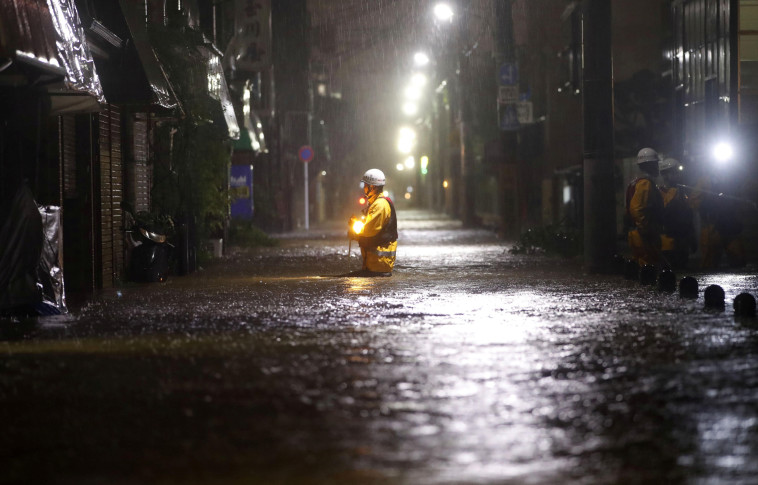הטייפון ביפן. צילום: Kyodo/via REUTERS