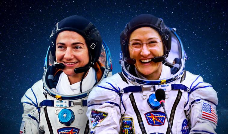 האסטרונאוטיות כריסטינה קוך וג'סיקה מאיר. צילום: רויטרס