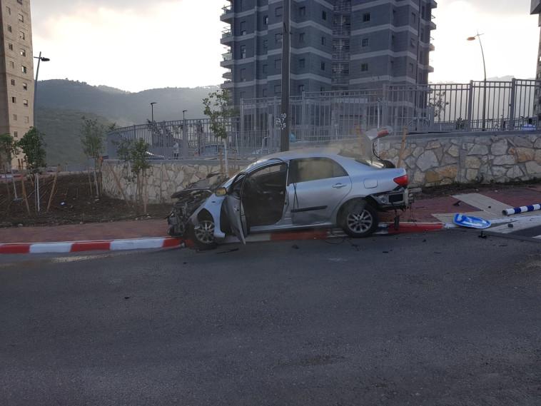 פיצוץ  הרכב בנשר. צילום: דוברות המשטרה