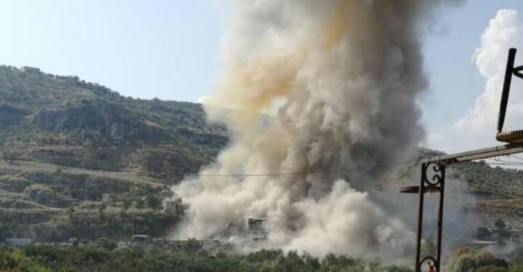 """הפלת מל""""ט בלבנון. צילום: רשתות ערביות"""