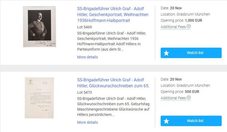 מכירת חפצים אישיים של היטלר. צילום מסך מתוך אתר the saleroom