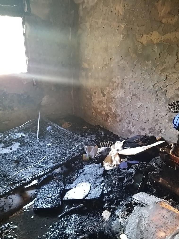 שריפת המתבן במועצה האזורית נחל שורק. צילום: דוברות כבאות והצלה