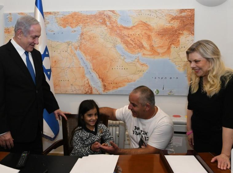 """ליאן בן אליעזר ואביה בפגישה עם רה""""מ נתניהו ורעייתו. צילום: עמוס בן גרשום, לע""""מ"""