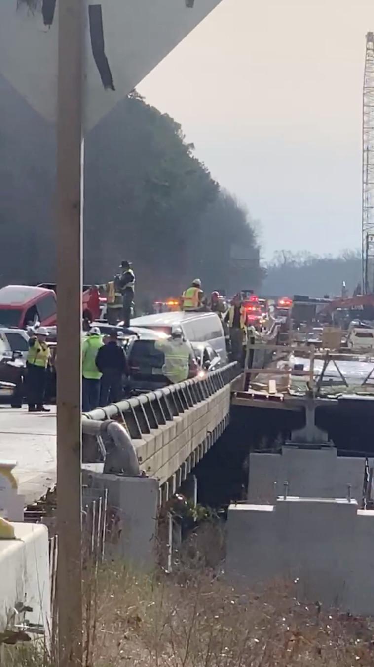 תאונת השרשרת בווירג'יניה (צילום: רויטרס, VA State Police)