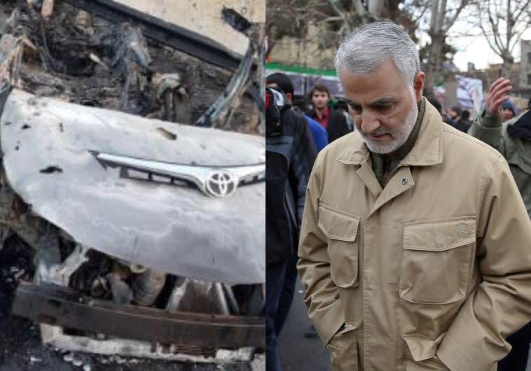 סולימאני והרכב בו חוסל. צילום: AFP