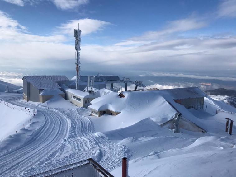 שלג כבד באתר החרמון. צילום: אתר החרמון