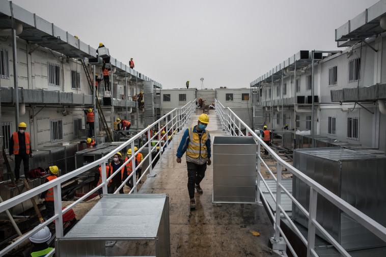 בית החולים לטיפול בחולי נגיף הקורונה שהוקם בסין. צילום: Getty images
