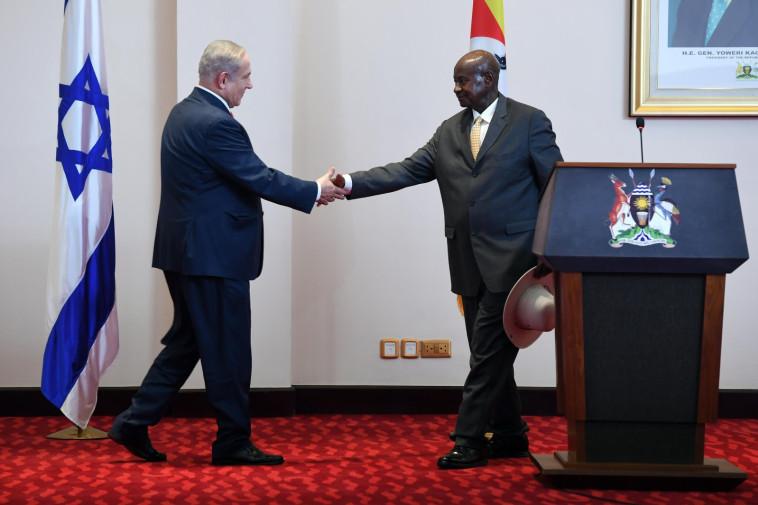 """נתניהו ונשיא אוגנדה, צילום: חיים צח, לע""""מ"""