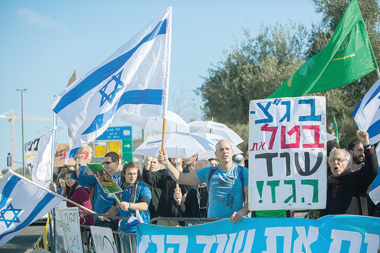 הפגנה נגד מתווה הגז, 2016 (צילום: יונתן זינדל, פלאש 90)