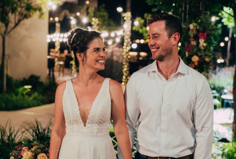 אמיר ודנית ביום החתונה (צילום: לירון סער)