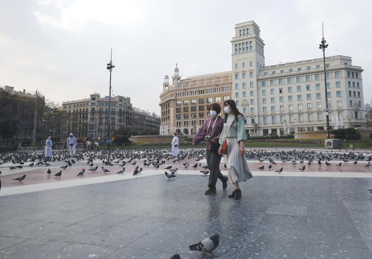 קורונה: כיכר קטלוניה בספרד ריקה מאדם (צילום: ארנון בוסאני)