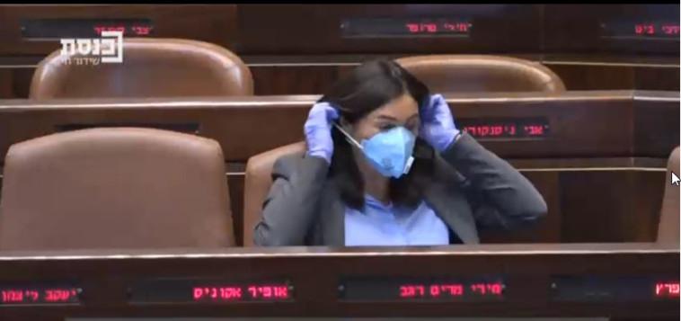השרה מירי רגב במליאת הכנסת. הודיעה על החזרת הליגות (צילום: צילום מסך מערוץ הכנסת)