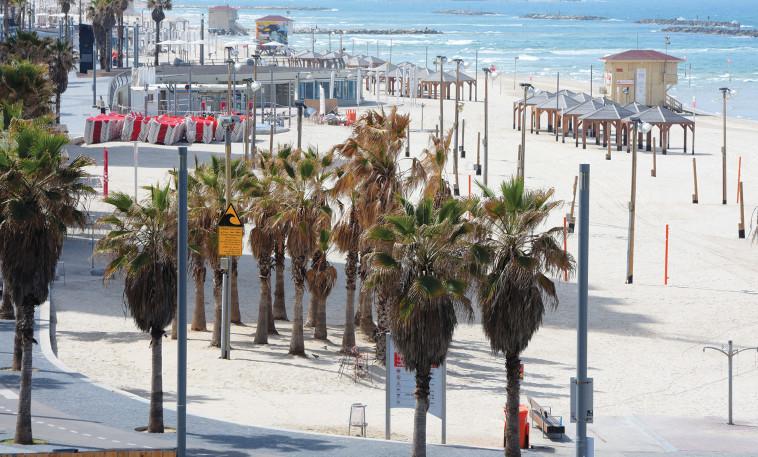 טיילת תל אביב וחוף הים שוממים  (צילום: אבשלום ששוני)