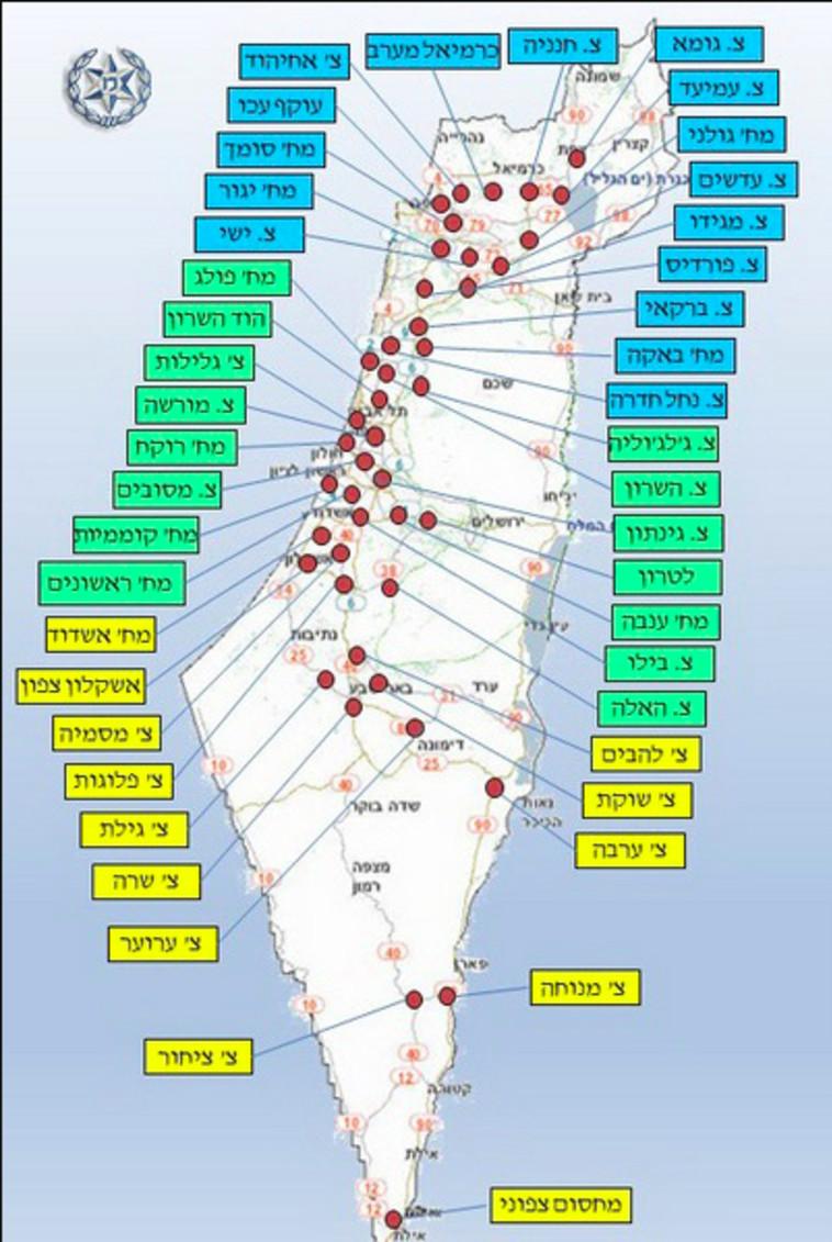 קורונה: מפת חסימות הכבישים בישראל לליל הסדר (צילום: באדיבות משטרת ישראל)