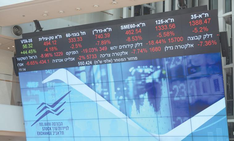 הבורסה לניירות ערך בימי קורונה (צילום: אבשלום ששוני)
