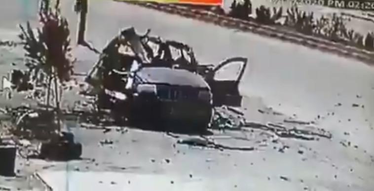 תקיפת הרכב של חיזבאללה (צילום: צילום מסך טוויטר)
