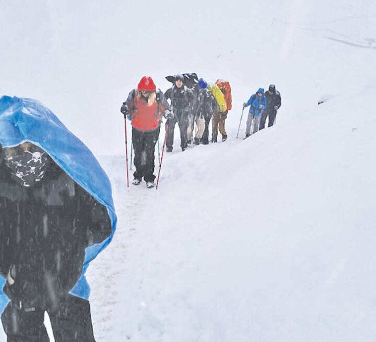 שיירת מטיילים ששרדו את סופת השלגים ברכס אנאפורנה בנפאל, 2014 (צילום: הראל חברה לביטוח)