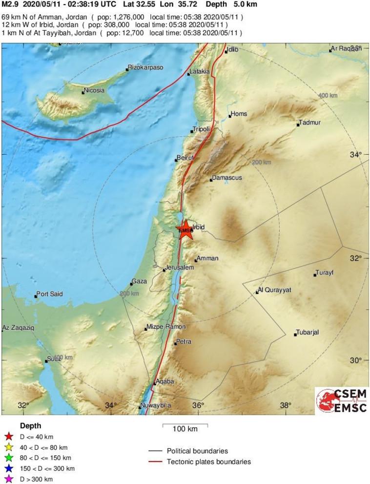 רעידת אדמה בירדן, 11.5.20 (צילום: אתר המכון הסיסמוגרפי האירופי emsc)