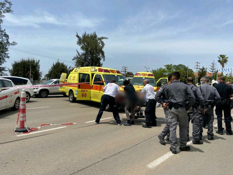צוותי מד''א בזירת הפיגוע בתל השומר (צילום: תיעוד מבצעי מד''א)