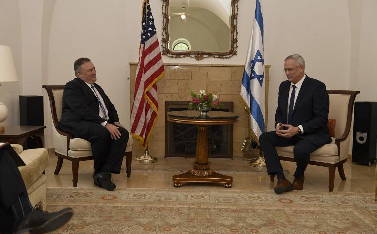 בני גנץ, מייק פומפאו (צילום: מתי שטרן, שגרירות ארה''ב בירושלים)