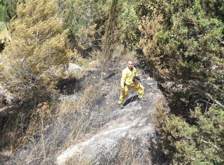 שריפה ביער הנשיא (צילום:  דוברות כב״ה מחוז ירושלים)