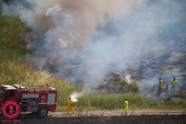 השריפה באוריה (צילום: כבאות והצלה)
