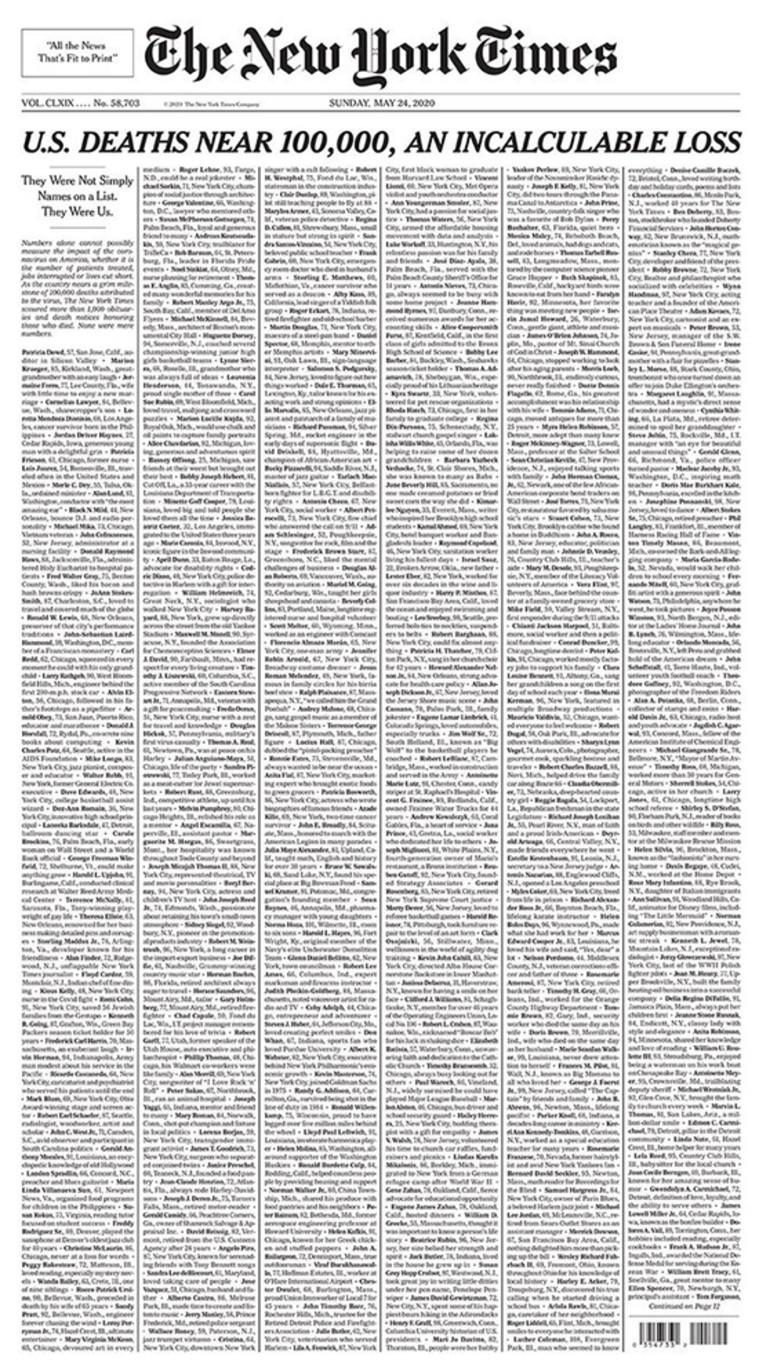 שער הניו יורק טיימס לזכר קורבנות הקורונה בארה״ב (צילום: צילום מסך)