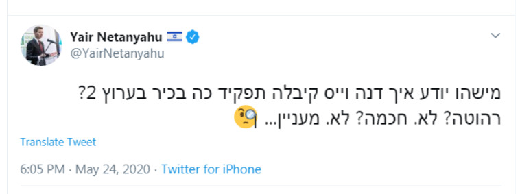 הציוץ של יאיר נתניהו נגד דנה וייס (צילום: צילום מסך טוויטר)
