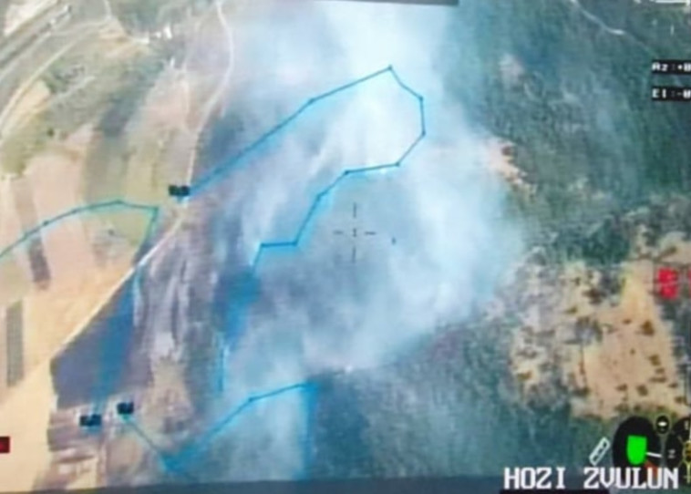 זירת השריפה בקרית חרושת - תמונה מהמטוס  (צילום: דוברות כבאות והצלה)