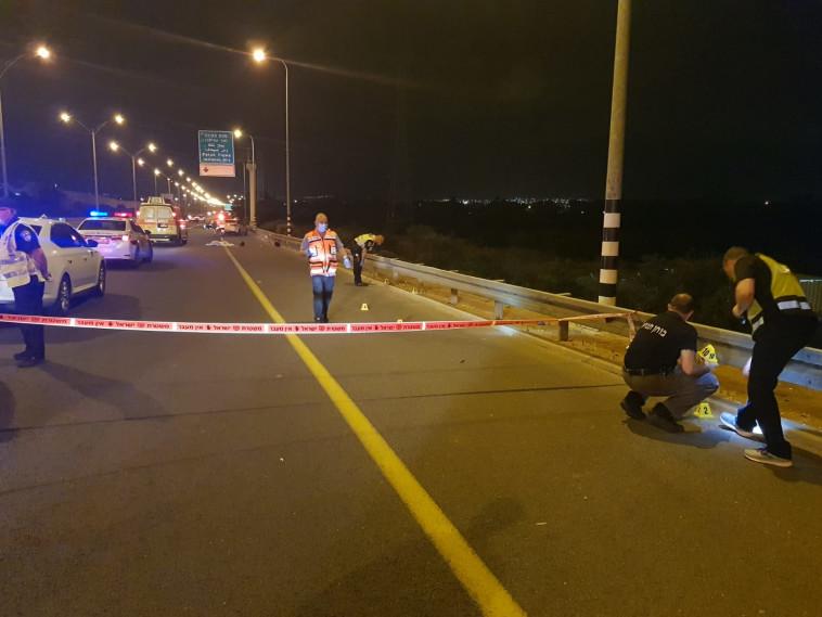 בוחני המשטרה בזירת התאונה (צילום: אלון חכמון)