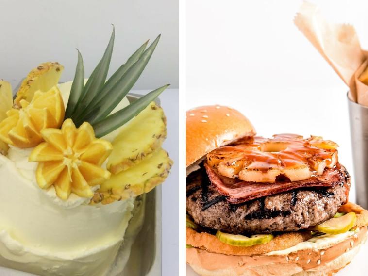 המבורגר עם אננס ברשת BBB (צילום גליה אבירם). סורבה אננס גלידות אלדו (צילום מעיין מלכא)