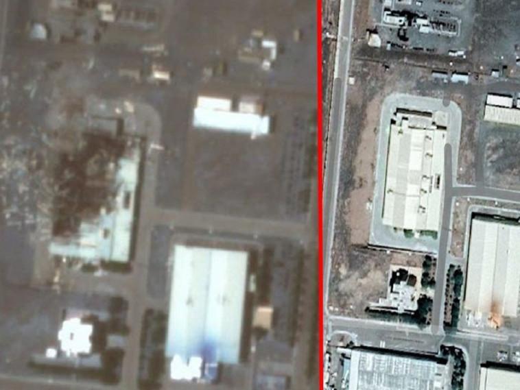 זירת הפיצוץ בכור בנתנז (צילום: רשתות ערביות)