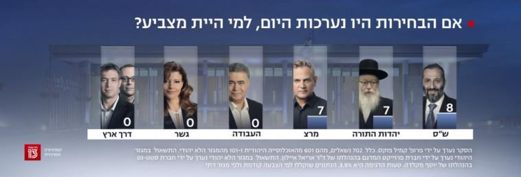 למי היית מצביע לו הבחירות היו נערכות היום? (צילום: צילום מסך חדשות 13)
