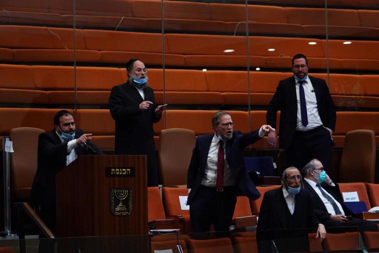 חברי הכנסת החרדים בתום ההצבעה (צילום: עדינה ולמן, דוברות הכנסת)