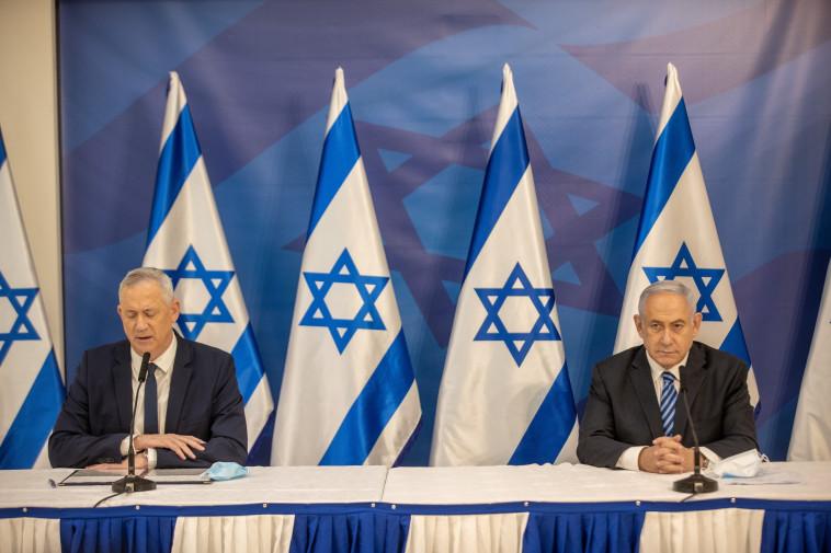 ראש הממשלה בנימין נתניהו ושר הביטחון בני גנץ בהצהרה בעקבות האירוע הביטחוני בצפון (צילום: אלי דסה)